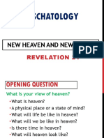Eschatology- New Heavens and New Earth