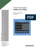 Janitza UMG 512 PRO Modbus Address List and Formulary En