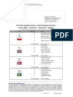 FIM Team Speedway U21 World Championship Final - Outrup DEN - 18.08.2018 - Starting List - Updated - 14.08.2018