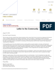Letter to the Community