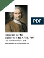 Discours Sur Les Sciences Et Les Arts 1750