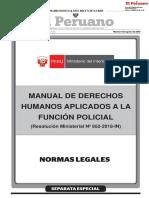 Aprueban el Manual de Derechos Humanos Aplicados a la Función Policial