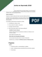 Curso de Tecnico en Ayurveda 2017-1-1