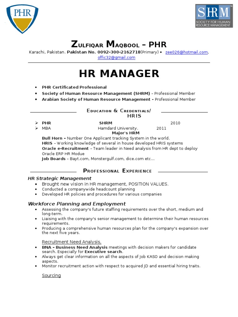 Phr Certified Recruitment Hr 7 Yrs Exp Professional
