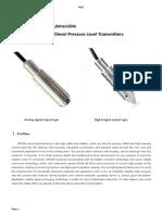 HPT604 Level Sensor Datasheet-Fuel Application- RS485