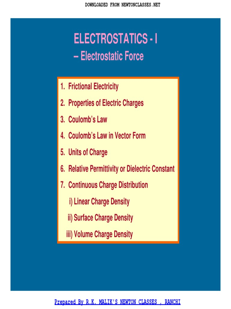 Formulae Book of Physics Class XII | Electric Field | Electric Charge