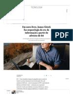 Em Novo Livro, James Gleick Faz Arqueologia Da Era Da Informação a Partir Do Advento Do Bit - Jornal O Globo