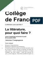 COMPAGNON_La littérature, pour quoi faire?