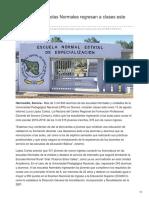 10-08-2018 Alumnos de Escuelas Normales Regresan a Clases Este Lunes - Tribuna