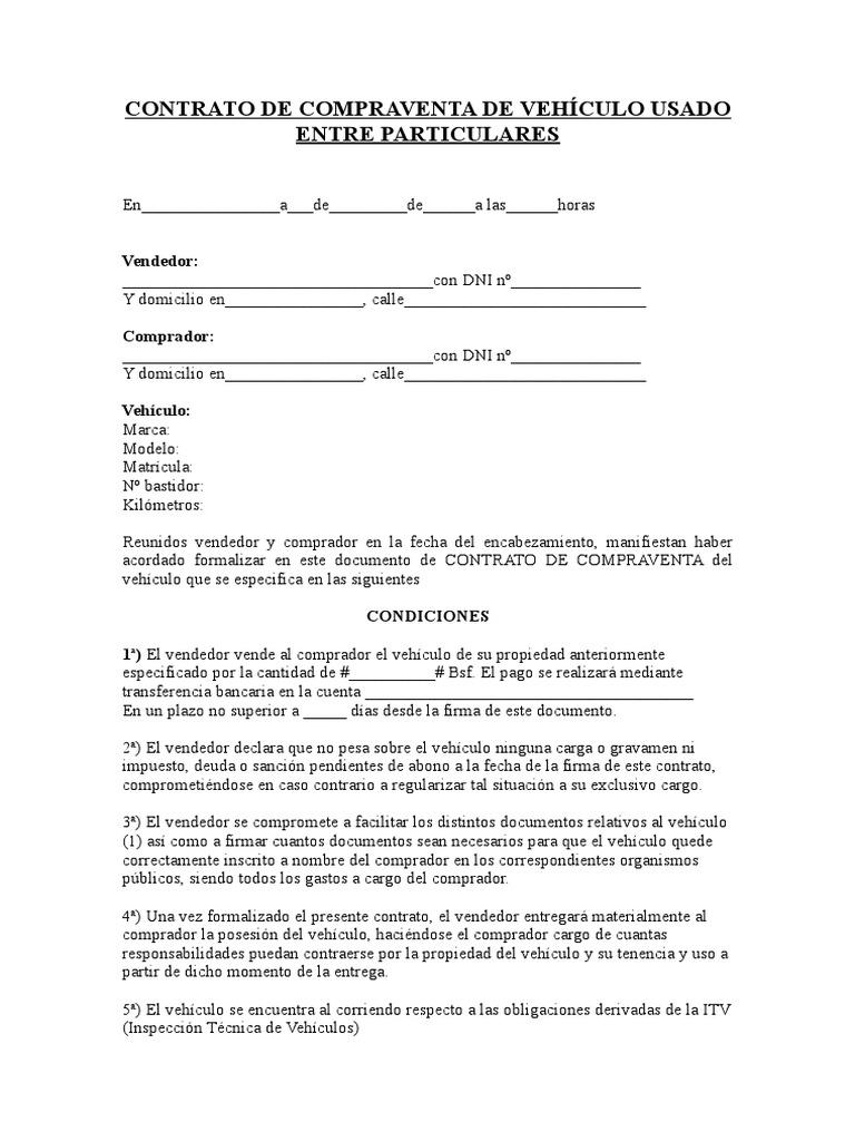 Contrato De Compraventa De Vehículo Usado Entre Particulares Doc Gobierno Política