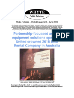 Rental Company of the Year - United Equipment 2018