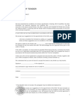 1999 FIDIC Green Book Letter of Tender