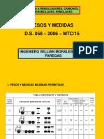 Pesos y Medidas en El d.s. 058 Mtc