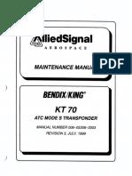 ATC Mode S Transponder KT 70 Maintenance Manual. Rev. 3, Jul 1999