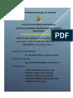 Evaluación del crecimiento de Colletotrichum sp bajo el efecto del extracto etanólico de Ruta graveolens