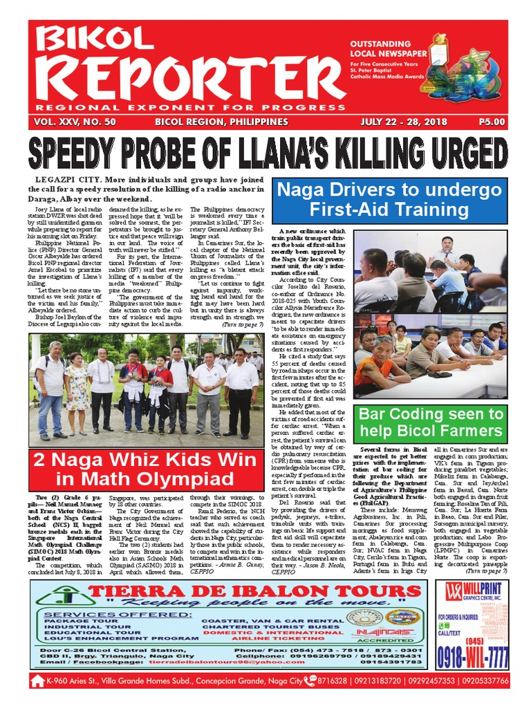 Bikol Reporter July 22 - 28, 2018 Issue | Fiber To The X | Lte