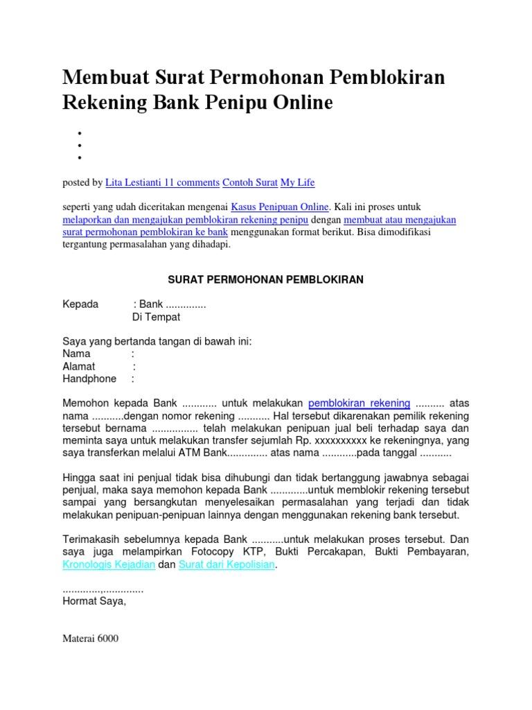 Membuat Surat Permohonan Pemblokiran Rekening Bank Penipu