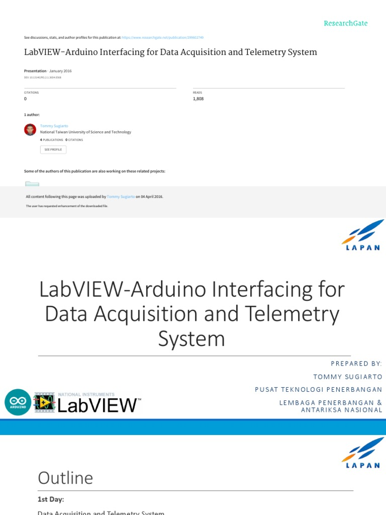 LabVIEW-Arduino Interfacing for Data Aqcuisition and Telemetry