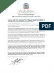 Mensaje del presidente Danilo Medina con motivo del 155 aniversario de la Restauración de la República