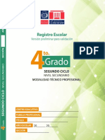 Registro de 4to Grado Nivel Secundario ETP