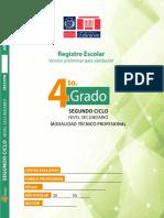 Registro de 4to Grado Nivel Secundario ETP