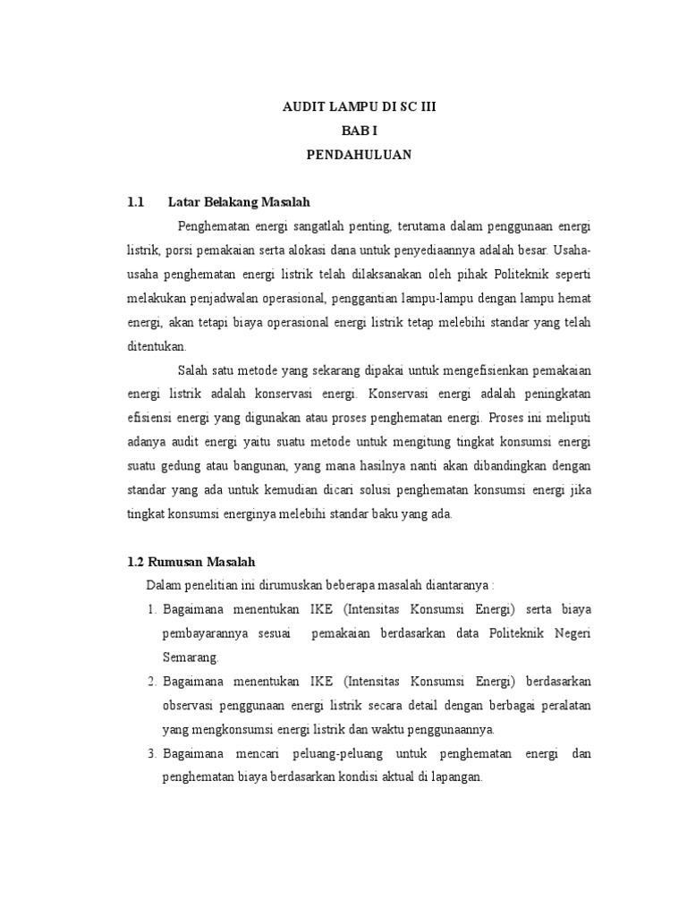 Contoh Aplikasi Audit Energi Lampu Flouresen Sciii 1