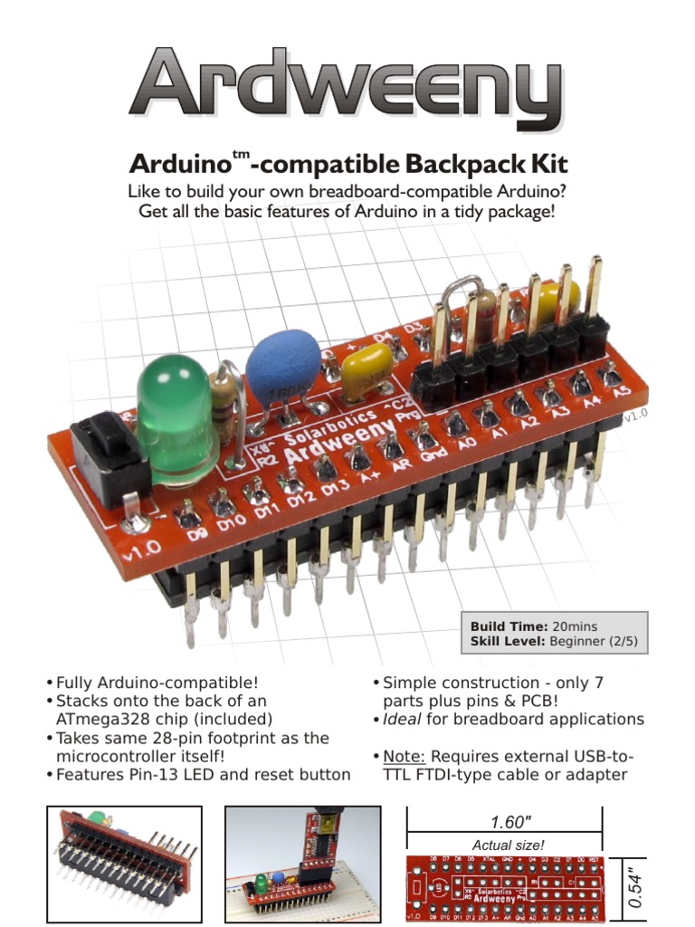 Ardweeny Manual Arduino Printed Circuit Board Build Your Own On A Breadboard
