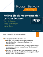 Rolling Stock Procurements - Lessons Learned
