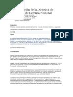 Aprobación de La Directiva de Política de Defensa Nacional 703 2018