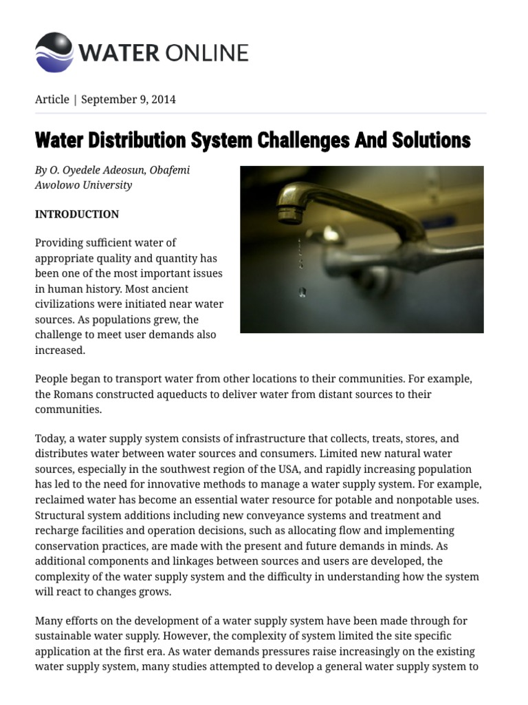 Water Distribution System Challenges And Solutions (1) pdf
