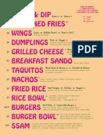 Last Straw's food menu