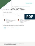Bearing Capacity of Shallow Foundation on Slope