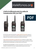 Diferencia Entre Los Radios de Comunicación UHF y Los VHF