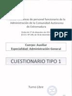 Examen Auxiliar Administrativo Junta Extremadura 2013