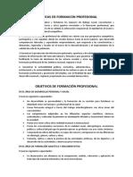 Políticas y Objetivos de La Formación Profesional