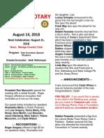 Moraga Rotary Newsletter for Aug 14 2018