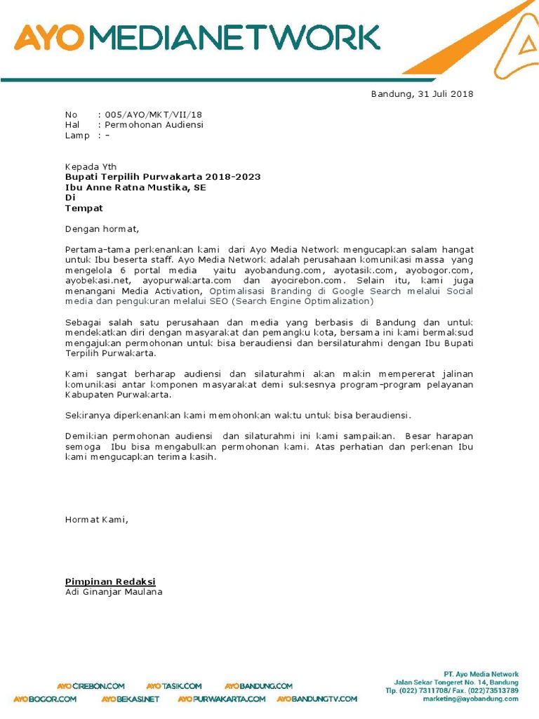 Contoh Surat Permohonan Audiensi Dengan Dprd