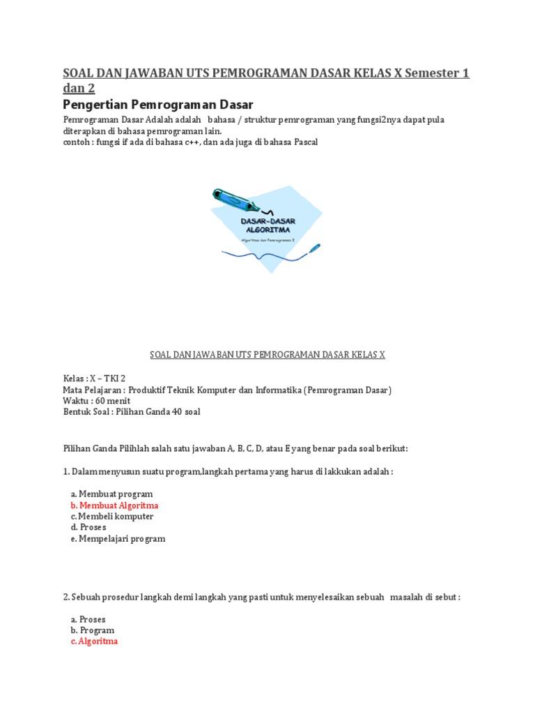 Contoh Soal Dan Jawaban Desain Grafis Kelas 10 Semester 1 ...