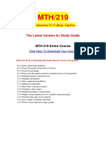 MTH 219 Week 2 MyMathLab Study Plan for Week 2 Checkpoint