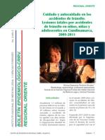 Cuidado y autocuidado en los accidentes de tránsito. Lesiones fatales por accidentes de tránsito en niños, niñas y adolescentes en Cundinamarca, 2009-201
