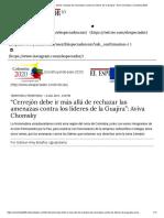 """""""Cerrejón Debe Ir Más Allá de Rechazar Las Amenazas Contra Los Líderes de La Guajira"""""""