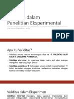 Validitas Dalam Penelitian Eksperimen
