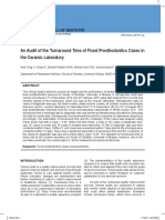 An Audit of the Turnaround Time of Fixed Prosthodontics Cases in the Ceramic Laboratory