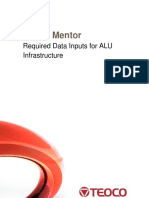Ultima Mentor Required Data Inputs for ALU Infrastructure