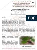 Assessment of Antioxidants, Phytoactives in Extracts of Colocasia esculenta