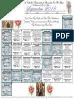 2018 September Festal Calendar