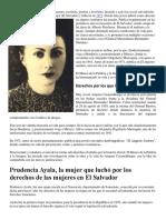Amparo Casamalhuapa Fue Una Maestra, Prudencia Ayala