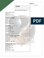 Carta Barra Coctel Preparaciones
