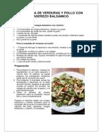 Ensalada de Verduras y Pollo Con Aderezo Balsámico