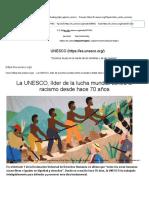 La UNESCO, Líder de La Lucha Mundial Contra El Racismo Desde Hace 70 Años